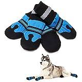 ZUOLUO Pfotenschutz Hund Hundeschuhe Sommer Hund Regenstiefel Hundeschuhe für große Hunde Hundeschuhe rutschfest Blue,S