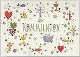 Wunderschöne hochwertige Grußkarte mit Umschlag zur Erst-Kommunion, geprägtes Reliefpapier (original von Turnowsky, est. 1940) mit christlichen Symb