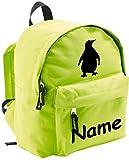ShirtInStyle Kinder Rucksack Pinguin, mit Name veredelt, ideal für Kita, Farbe Lime