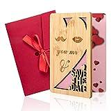 Holzgrußkarten, Handgemachte Liebeskarten zum Valentinstag Jubiläumskarten mit Geschenkumschlag für Geburtstag / Jubiläum / Valentinstag / Muttertag / Hochzeiten (B)