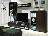 Furniture24 Wohnwand Dino Anbauwand Lowboard Schrank Hängeregal Hängevitrine Milano