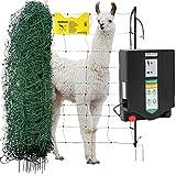 Agrarzone Lama-, Alpaka- und Ziegenzaun Set DUO 3000 12V/230V, 4,5J, Netz 50m x 90cm, grün | Ziegennetz-Set mit starkem Weidezaungerät | Sicherer Weidezaun Elektrozaun für Ziegen & Weidetiere