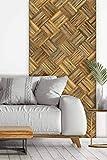 wodewa Designfliese Wandverkleidung Holz selbstklebend 3D Altholz sonnenverbrannt I 1m² Wandpaneele Moderne Wanddekoration Holzwand Wohnzimmer Küche Schlafzimmer