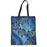 Instantarts Handtasche mit niedlichem Cartoon-Huhn, Katze, strapazierfähig, Leinen, wiederverwendbar 42x34x1.5CM schildkröte