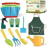 Gartengeräte für Kinder, 10teiliges Set Spielwerkzeuge für den Garten Strand, aus Kunststoff und Edelstahl, Garten Werkzeugsets enthalten Schaufel, iießkanne, Handschuhe, Schürze, Rechen, GartenTasch