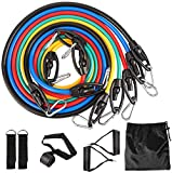 Resistance Bands Expander Bänder Widerstandsband Set mit Trainingsguide Fitnessbänder-Set, Gymnastikband Fitness Band Tubes für Ganz-Körper-Workout Yoga Pilates Fitness