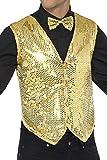 Smiffys 42937XL Herren Pailletten Weste, Größe: XL, Gold, 42937