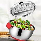 lefeindgdi Multifunktionales Edelstahlbecken, Küchenreibe Käsereibe Komfort Salatbereiter Schüssel mit Ablaufkorb zum Kochen und Vorbereiten