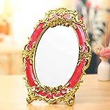 Spiegel Desktop Fold Tragbarer Spiegel Spiegel Großer Hochzeitsprinzessin Rahmen Tischspiegel unterstreicht den Charme des Palastes Dual Design Intim (Farbe : Weiß)