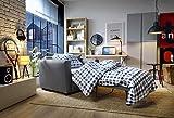 Abakus Direct Olly Schlafsofa für Einzelbett, klappbar, umwandelbar, aus hellgrauem Leinenstoff (dunkelgrau mit Kissen)