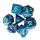 RTUQ Polyedrische Würfel Set mit 7 Stück,TRPG Spiel Polyhedral D4-D20 Mehrseitige Acrylwürfel,Pen and Paper ,Tischkartenspiele ,für Dungeons and Dragons DND RPG (A)
