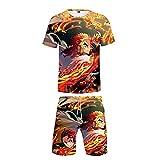 EDMKO Unisex Demon Slayer Kurzarm T-Shirt Shorts Zweiteiliges Set Rengoku Kyoujurou 3D Anime-Druck 2 Stück Set Rundhals Pärche Kurzarmshirt,Multi Colored,3XL