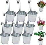 9er Set Hängetopf Blumentopf Pflanztopf Übertopf mit Haken Zink Blumentopf Vase Balkon Garten (9er Set Silber)