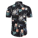 Strandshirt Herren Sommer Slim Fit Modern Männer Sportshirt Mode Druck Kurzarm Shirt Knopfleistes Freizeithemden Urlaub Schnelltrocknend Hawaii Hemd B-2 L