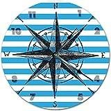 Große Wanduhr Küchenuhr großer Kompass Kunst Uhr blau und weiß Wohnzimmer Große Wanduhr für Büro Schule Haus Wohnzimmer Küche Schlafzimmer Dek