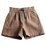 ZSCRL Modische hoch taillierte Wollshorts mit weitem Bein, dünne Knospen, lockere Freizeitstiefelhosen und XXL-Braun im Schnürstil
