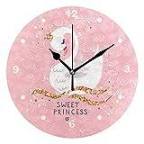 SUNOP Wanduhr für Kinder, mit Öl Bedruckt, süße Prinzessin Schwan, Wanduhren für Wohnzimmer, Schlafzimmer und Küche, Vintage Schreibtisch & Regal Uhren
