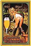 Blechschilder Bier lustiger Spruch WER Bier TRINKT UNTERSTÜTZT DIE Landwirtschaft Deko Schild Bar-Schild Theke 20x30 cm (1)