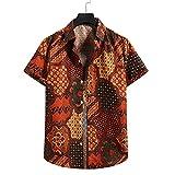 Strandhemd Herren Sommer Casual Urlaub Herren Freizeithemden Knopfleiste Herren T-Shirt Hawaiianischer Stil Surf Camping Herre Kurzarm YC03 S