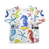 MCHIVER Kinder-Kittel – Seepferdchen Muschel Seestern Kinder Malschürze Wasserdicht Kleinkind Kittel zum Spielen Essen