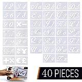 40 Stück Letter Schablonen zum Malen auf Holz, Alphabet Letter Vorlagen mit Zahlen und Zeichen, wiederverwendbare Kunststoff-Kunsthandwerk Schablonen mit Kalligraphie Schrift