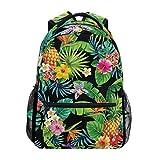 Pineapple Tropical Palm Rucksack Wasserdicht Schule Schultertasche Gym Rucksack Blume Schwarz Obst Laptop Tasche Outdoor Reisetasche für Kinder Jungen Mädchen Damen Herren