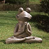 Glitzhome JK85244 Meditierender Yoga-Frosch, Garten-Statue, Tier-Skulptur, Rasen-Dekoration, 48 cm lang