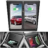 QXIAO Auto-Wireless-Ladegerät für Tesla Model 3 mit 3 Spulen Horizontal/Vertikal Schnellladung Dual Qi Wireless Charging Pad für Tesla Model 3 Zubehör für iPhone Samsung Huawei