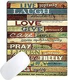 Gaming Mouse Pad benutzerdefinierte Positive inspirierende Zitate Leben voller Freude lachen reichlich Liebe Sprüche rustikale farbige Holzkunst