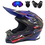 Motocross Helm Mit Brille/Handschuhe/Maske, Motorrad Crosshelm Fullface Enduro MTB Helm Cross Helm Motorradhelm Damen Herren, 4 Stile Verfügbar,Blau,XL