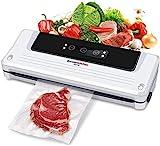 Bonsenkitchen Vakuumiergerät, Vakuumierer Folienschweißgerät für Sous Vide Kochen und Lebensmittel Bleiben bis zu 8x Länger Frisch   Trocken und Feucht Modi   Vakuumbeutel Inklusive (Weiß, VS3750)