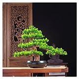 Künstlicher Bonsai Baum 14-Zoll-hohe künstliche Kiefer-Bonsai-Verzierung, eine neue chinesische Simulation einladende Kiefer, Kunstbaum für im Weinkabinett und Teeraum künstliche Baum
