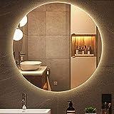 HHDD Runder LED-Spiegel mit Hintergrundbeleuchtung, Wandspiegel mit LED-Beleuchtung, Smart Touch-Schalter Badezimmerspiegel, Safe Explosionsgeschützt