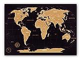 Weltkarte zum Rubbeln - Kronewerk - Deutsch oder Englisch - XXL 88x57cm + Deutschland -Karte in A4, Kreatives Geschenk für Vielreisende, Scratch Off World Map, Landkarte zum Freirubbeln