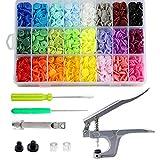 Libershine 360 Set 24 Farben T5 Druckknöpfe + Snaps Zange(T3, T5, T8) für alle Arten DIY Kleidung B