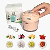 BOHAI Knoblauchpresse Mini Lebensmittelzerkleinerer, Zwiebelzerkleinerer Gemüsezerkleinerer für Nüsse und Samen, professioneller Knoblauchwolf und Ingwerpresse (Pink)