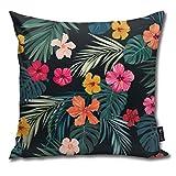 Kissenbezug mit tropischen Hibiskusblumen, dekoratives Kissen, Standard-Kissenbezug, Geschenk, 45 x 45 cm