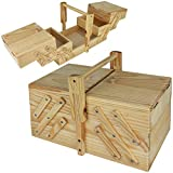 TW24 Nähkiste Holz Nähkasten Nähbox klappbar Nähkästchen groß Holznähkästchen Nähkorb