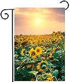 Antfeagor Retro-Blumen-Sonnenblumen, Sonnenblumen-Feld, Sonnenaufgang, Herbst, Sommer, Frühling, Garten, Hof-Flagge, doppelseitig, Polyester, 30,5 x 45,7 cm, Heimdekoration