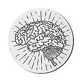 Psychologie-Mauspad für Computer, handgezeichnet wie einfache Cyber-Gehirn-Gedanken und Gedankenkontrollmechanismus, rundes, rutschfestes, dickes, modernes Gaming-Mousepad aus Gummi, 8 'rund, anthrazi
