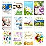 Edition Seidel Set 12 Premium Karten zur Jugendweihe mit Umschlag (Doppelkarten/Klappkarten mit Briefumschlag) Karte Postkarte Jugendweihekarten