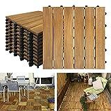 NAIZY Akazien-Holz Terrassenfliesen 30 x 30 cm Holzoptik Balkonfliesen mit Drainag und Klick-Fliesen für Garten Terrasse Balkon (Model A, Größe: 11 Stück | 1m²)