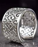 Silber Ring Damen Herz Breit - 925 Sterling - Größe Verstellbar - Ornament Breite Silberring