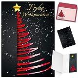 Weihnachtskarten mit Umschlag (15er Set) EDLER WEIHNACHTSBAUM ROT - Klappkarten - privat und geschäftlich - Frohe Weihnachten Karten von BREITENWERK
