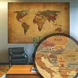 BilderKing Alte Retro Weltkarte antik als XXL Wand-Poster in Deutsch 210x140 groß im Vintage Used Look - Perfekte Großformat Deko für die Wand als Atlas Map Geograpfie Weltkugel