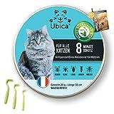 Ubica® Floh- und Zeckenhalsband für Katzen - Formel basierend auf ätherischen Bio-Ölen - Gefahrlos und 100% WASSERDICHT - 3 Zeckenklammern und EBOOK-Angebote