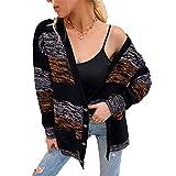Cardigan mit tiefem V-Ausschnitt Damen Color Block Pullover Damen Tasche Loose Cardigan Black L