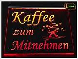 """LED Leuchtschild Leuchtreklame Werbeschild Schild Werbung """"Kaffee zu Mitnehmen/Coffee to go"""" rot oder in wählbarer Farbe als hochwertige Plexiglas-Gravur mit Steckernetzteil 230-12V ©faunz"""