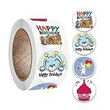 BLOUR 2021 New 500Pcs / Roll Kinder Kinder Baby Cartoon Alles Gute zum Geburtstag Runde Aufkleber Etiketten Dekor