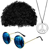 Gejoy Hippie Kostüm Set Mode Afro Perücke Sonnenbrille Frieden Zeichen Halskette für 50/ 60/ 70s Thema Party (Schwarz)